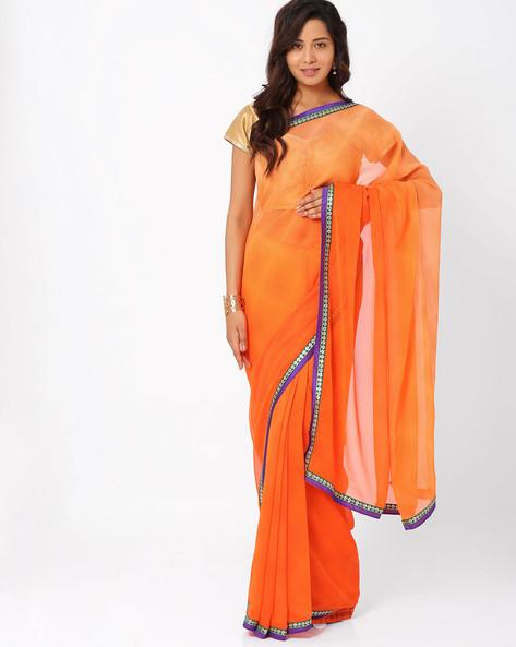 Printed Georgette Saree By Majestic Silk ( Orange )