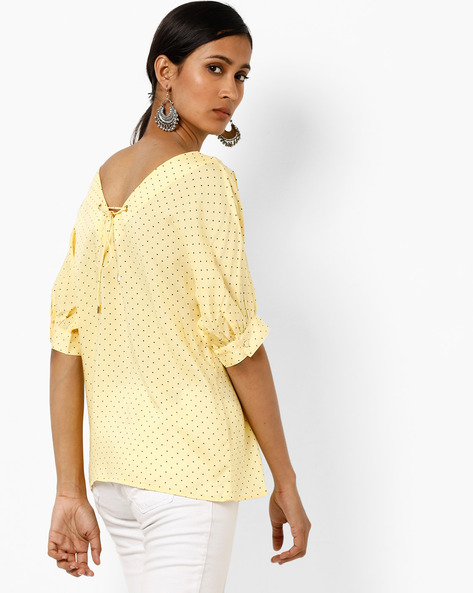 Polka-Dot Print Top With Back Tie-Up By AJIO ( Yellow )