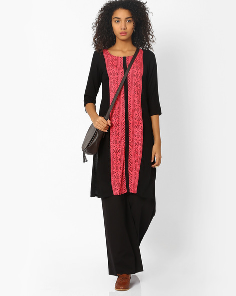 Printed Kurta With Panelled Detail By AVAASA MIX N' MATCH ( Black )