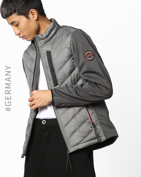 Front-Zip Quilted Jacket By Tom Tailor ( Grey )