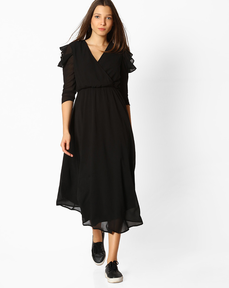 High-Low Dress With Overlapping Neck By Femella ( Black )