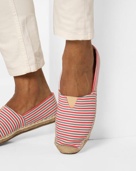 Striped Slip-On Espadrilles By Blue Saint ( Red )