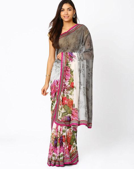 Printed Georgette Saree By Vishal Prints ( Khaki )