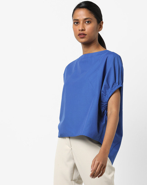 High-Low Top With Drop-Shoulder Sleeves By AJIO ( Blue )