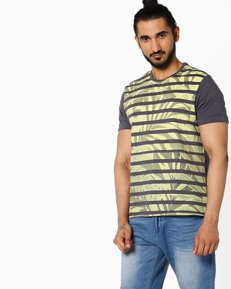 All-Over Print Crew-Neck T-shirt By AJIO ( Darkgrey )