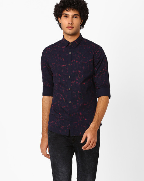 Printed Slim Fit Shirt By AJIO ( Navy ) - 460052148002