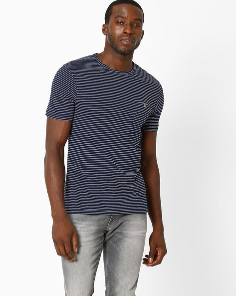 Striped Cotton T-shirt By Celio ( Indigo )