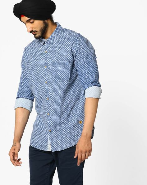 Geometric Print Shirt With Patch Pocket By UNITED COLORS OF BENETTON ( Blue )