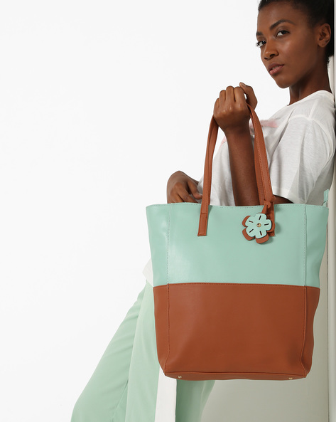 Colourblock Tote Bag With Flower Charm By Toteteca ( Mint )