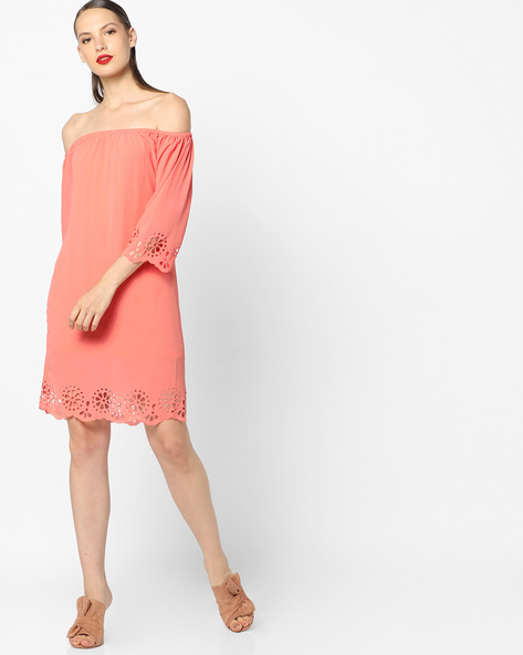 Off-Shoulder Shift Dress With Laser Cutouts By Sassafras ( Coral )