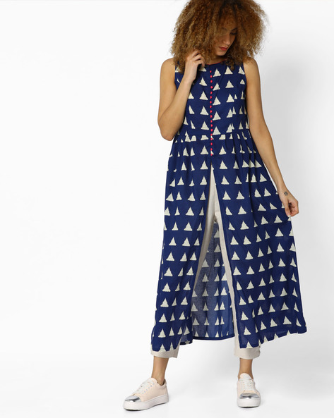Geometric Print Sleeveless Kurta By AJIO ( Blue )