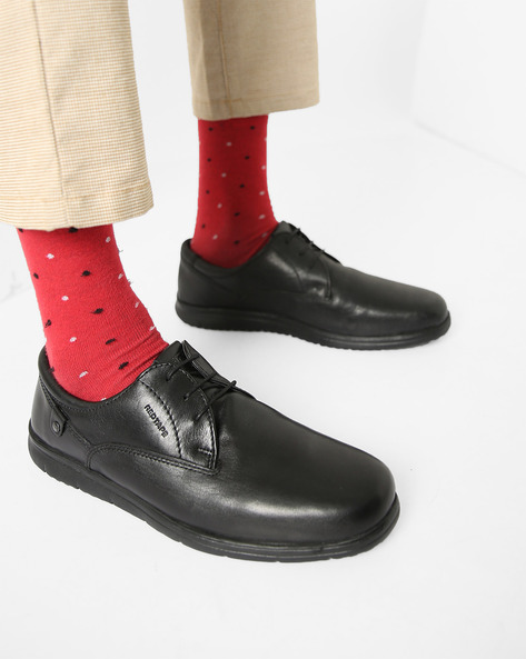 Genuine Leather Plain-Toe Derby Shoes By RED TAPE ( Black )