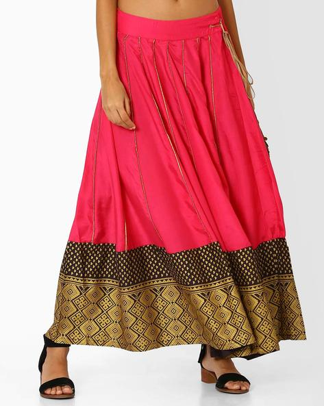 Panelled Skirt With Printed Hem By W ( Pink )