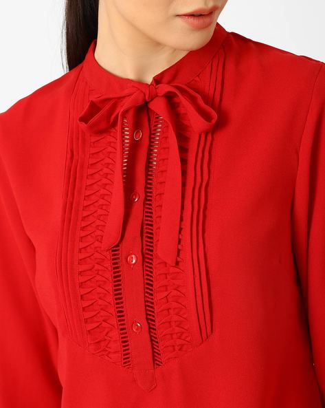 Blouse Top With Neck Tie-Up By AJIO ( Red )