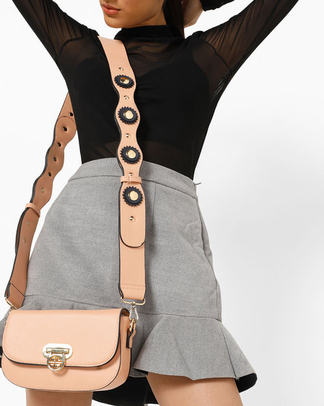 Sling Bag With Embellished Strap By Carlton London ( Pink )
