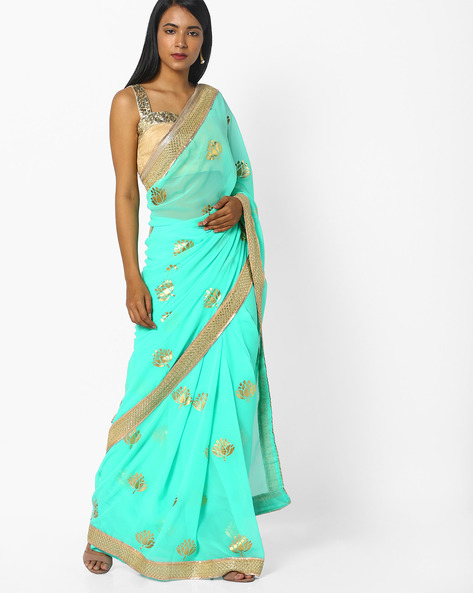Georgette Saree With Contrast Border By CHHABRA 555 ( Aqua )
