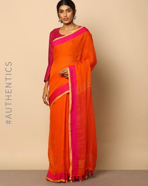 Handloom Bengal Pure Linen Saree With Tassels By Indie Picks ( Orange )