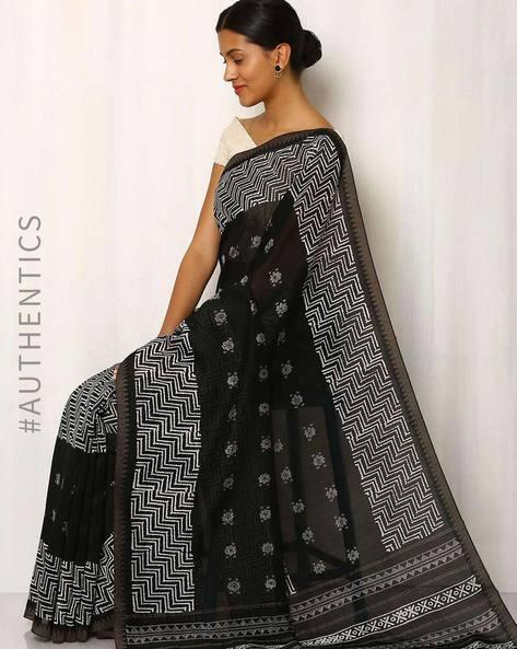 Patri Print Chanderi Saree With Ghicha Border By Indie Picks ( Black ) - 460016665001