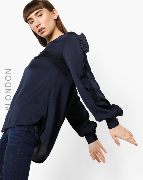 Top With Frilled Sleeves By Closet London ( Navyblue )