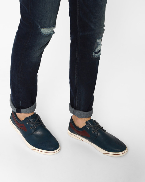 Lace-Up Casual Shoes With Contrast Detail By Spunk ( Navy )
