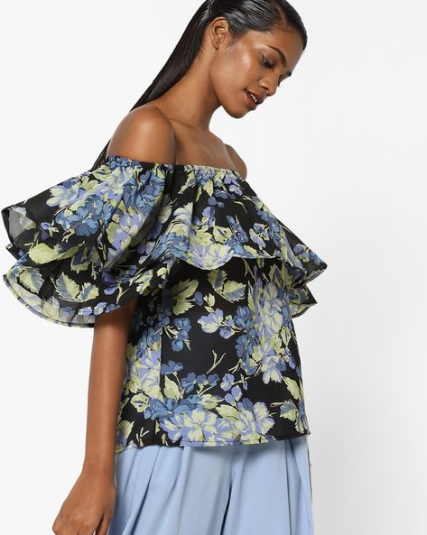 Floral Print Off-Shoulder Ruffled Top By Sassafras ( Black )
