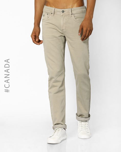 Mid-Rise Classic Fit Jeans By Point Zero ( Camel )