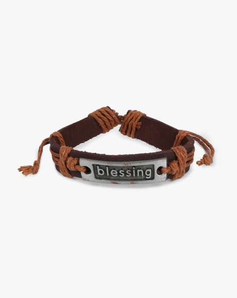 Bracelet With Metallic Accent By ALPHA MAN ( Brown )