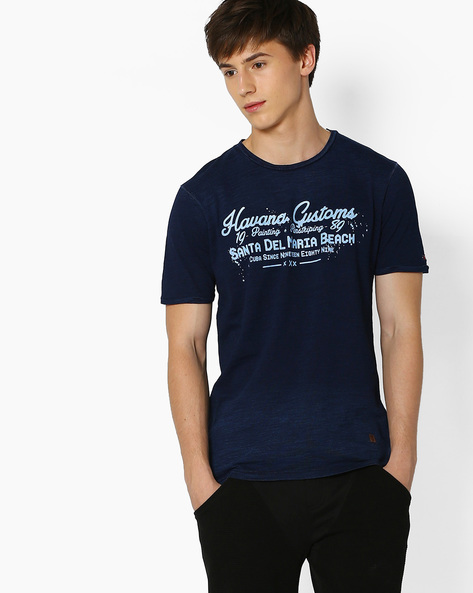 Graphic Print Slim Fit T-shirt By DNM X ( Blue )