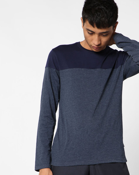 Crew-Neck T-shirt With Full Sleeves By Highlander ( Darkblue ) - 460117185002