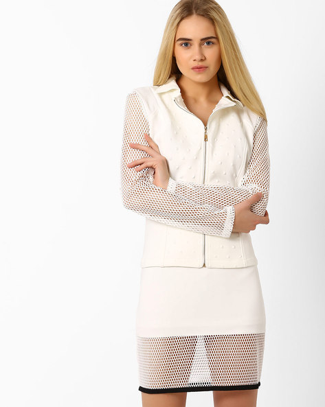 Panelled Jacket With Mesh Sleeves By AJIO ( White )