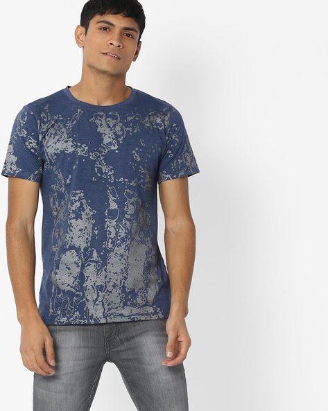 Printed Crew-Neck Tshirt By Blue Saint ( Blue )