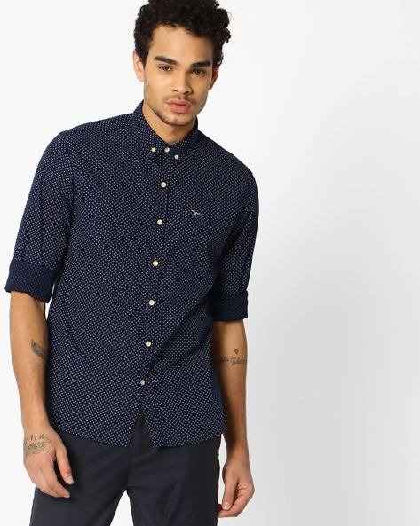 Printed Slim Fit Shirt With Button-Down Collar By FLYING MACHINE ( Navy )
