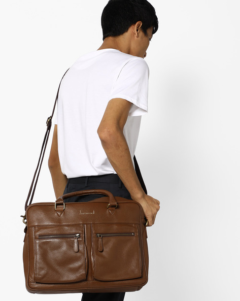 Genuine Leather Laptop Bag By JUSTANNED ( Lgttan ) - 460106895001