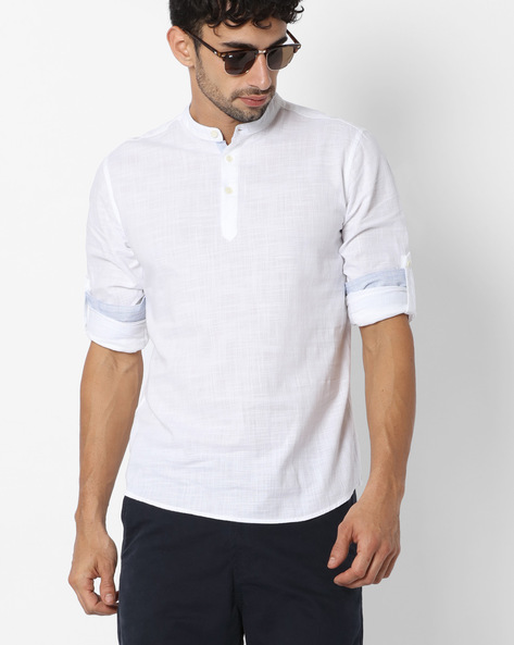 Regular Fit Shirt With Roll-Tab Sleeves By NETPLAY ( White )