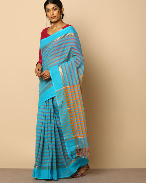 South Cotton Striped Saree With Zari Border By Indie Picks ( Blue )