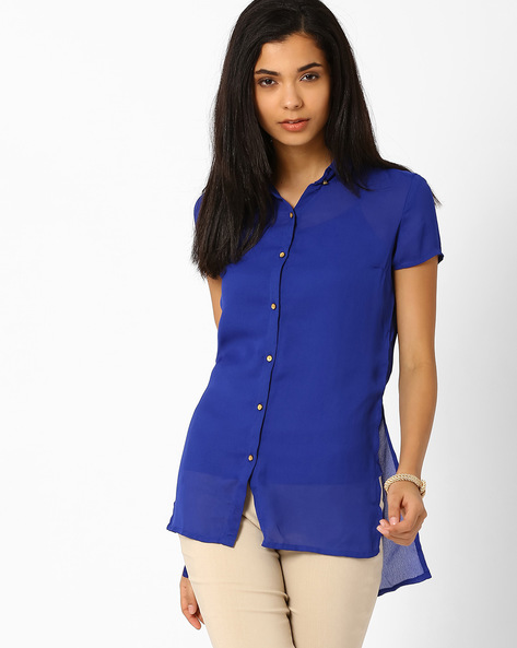 Shirt With High-Low Hem By Candies By Pantaloons ( Blue )