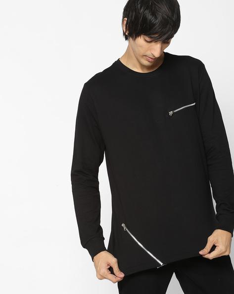 Crew-Neck Sweatshirt With Mock Zipper By DEEZENO ( Black )