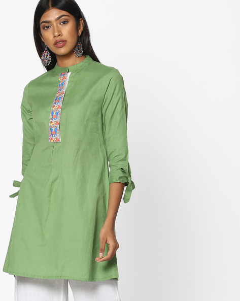 Tunic With Tie-Up Sleeve Hems By AJIO ( Olive )