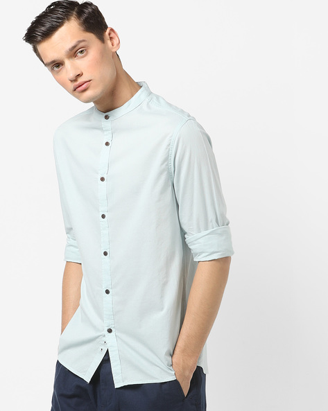 Regular Fit Shirt With Band Collar By AJIO ( Blue )