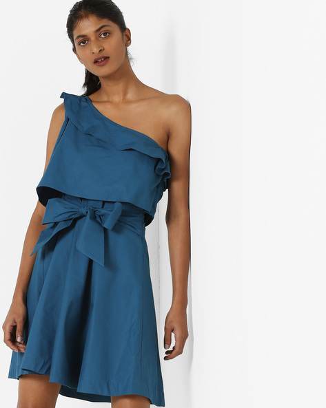 Mini Dress With Asymmetrical Neckline By AJIO ( Teal )