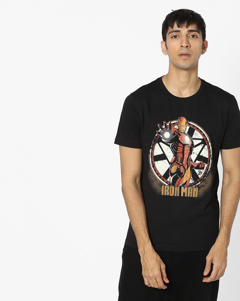 Iron Man Print Cotton T-shirt By Souled Store ( Black )