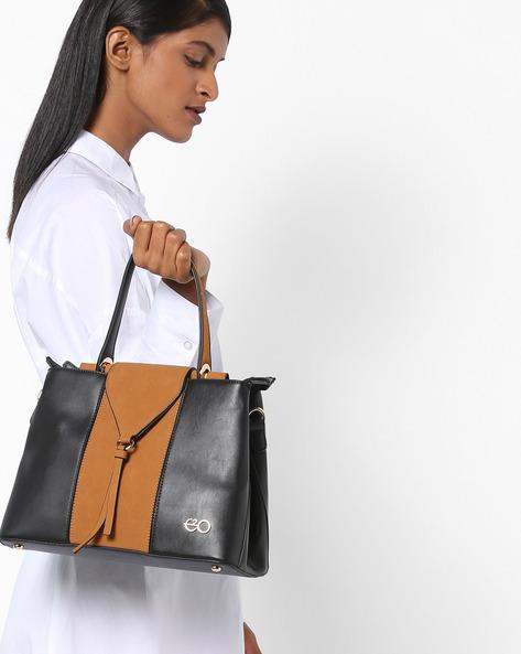 Colourblock Panelled Hobo Bags By E2O ( Yellow )