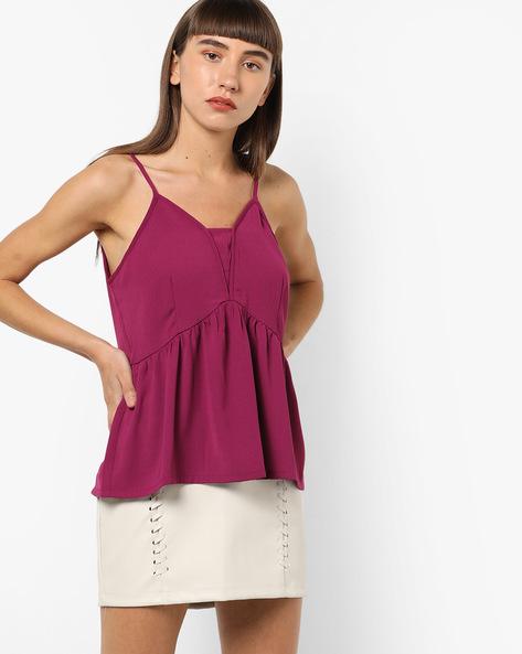 Open-Back Camisole Top With Tie-Ups By AJIO ( Magenta )