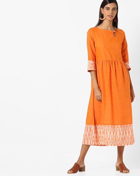 A-line Dress With Printed Hems By AJIO ( Mustard )