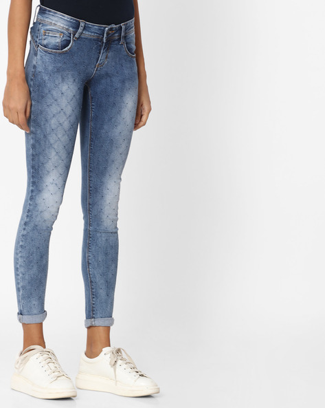 Mid-Wash Skinny Fit Jeans By Deal Jeans ( Blue )
