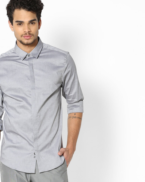 Slim Fit Oxford Shirt By UNITED COLORS OF BENETTON ( Grey )