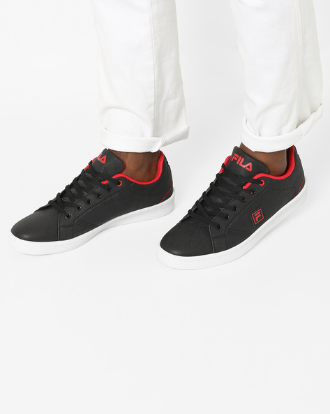 Textured Lace-Up Shoes By FILA ( Black ) - 460149586006