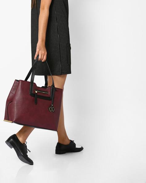 Handbag With External Zipper Closure By FUR JADEN ( Maroon )