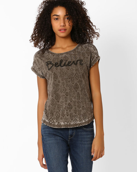 Printed Crew-Neck T-shirt By Only ( Grey )