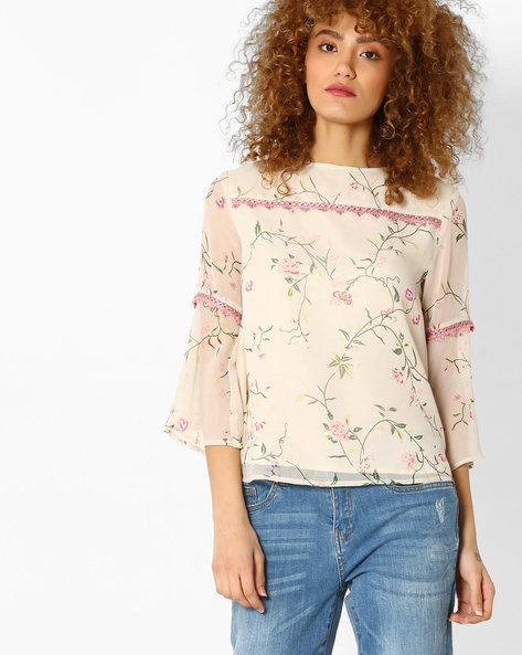 Floral Print Top With Flared Sleeves By Femella ( Offwhite )